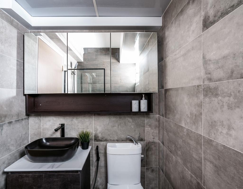 Contemporary, HDB, Bathroom, Punggol Bayview, Interior Designer, Couple Abode