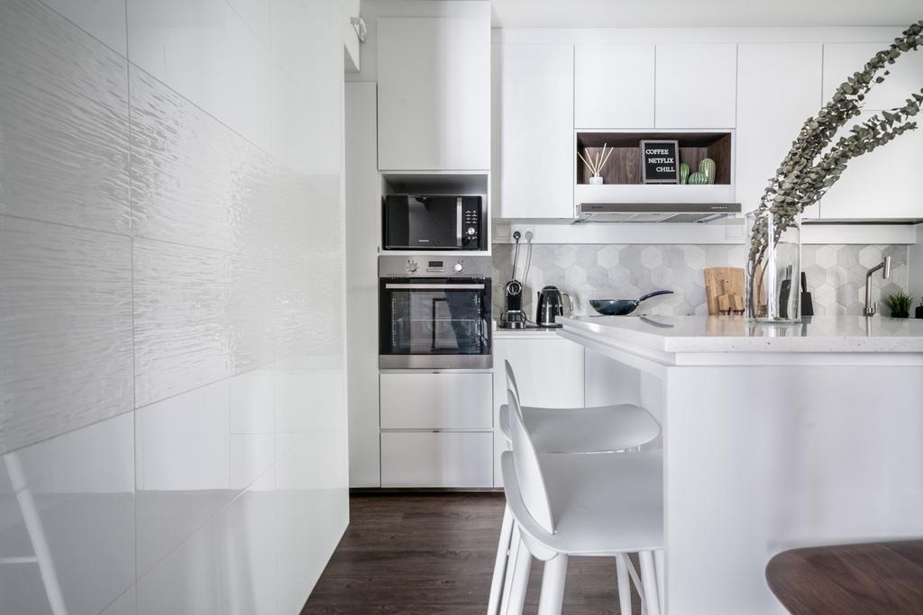 Contemporary, HDB, Kitchen, Punggol Bayview, Interior Designer, Couple Abode