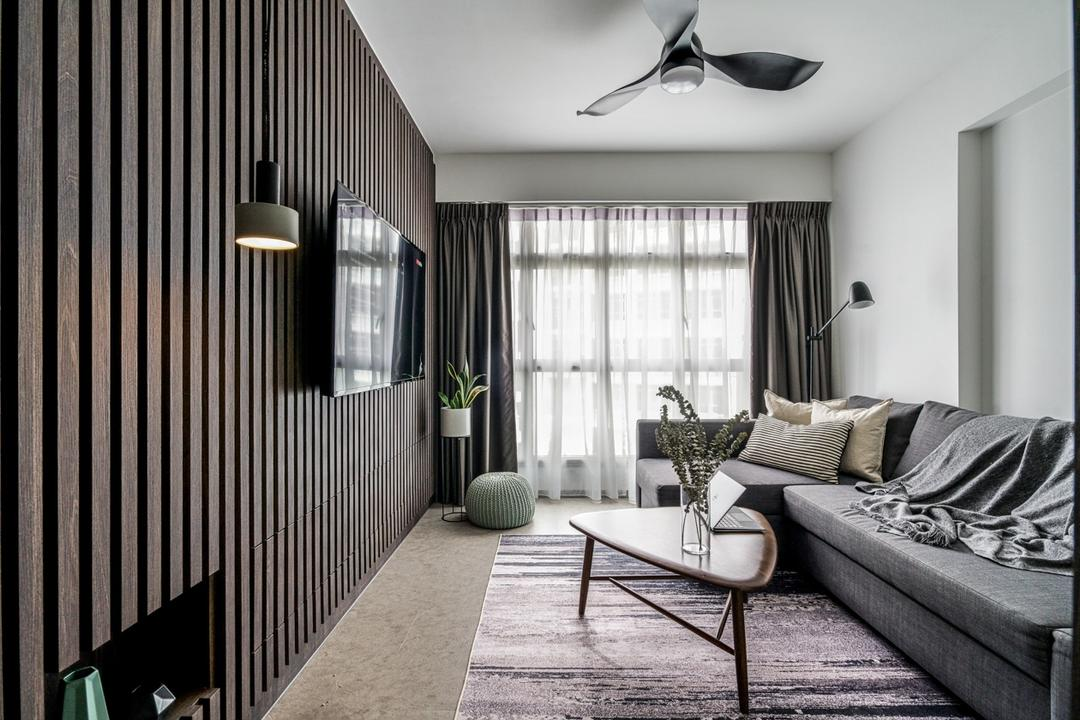 Punggol Bayview, Couple Abode, Contemporary, Living Room, HDB, Feature Wall