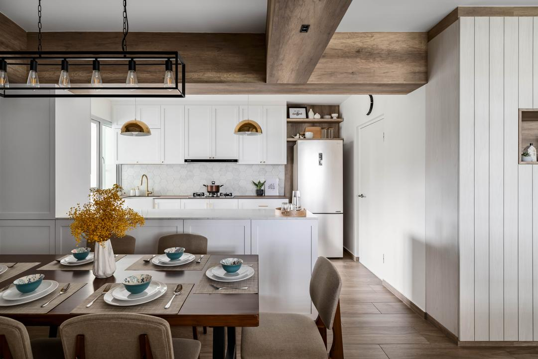 Anchorvale Lane, Ethereall, Traditional, Transitional, Dining Room, HDB, Rustic