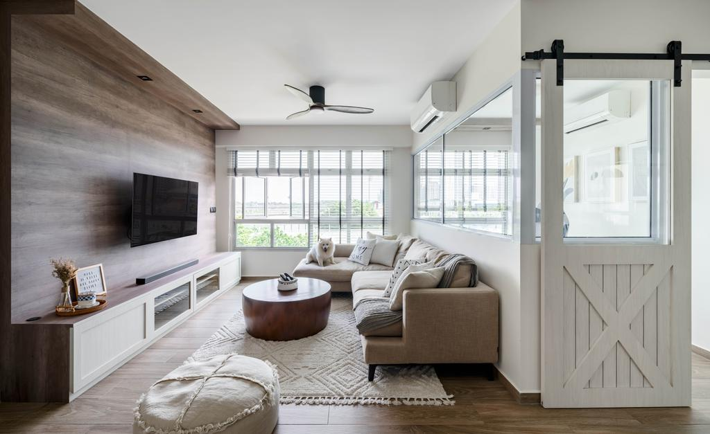 Traditional, HDB, Living Room, Anchorvale Lane, Interior Designer, Ethereall, Transitional, Farmhouse