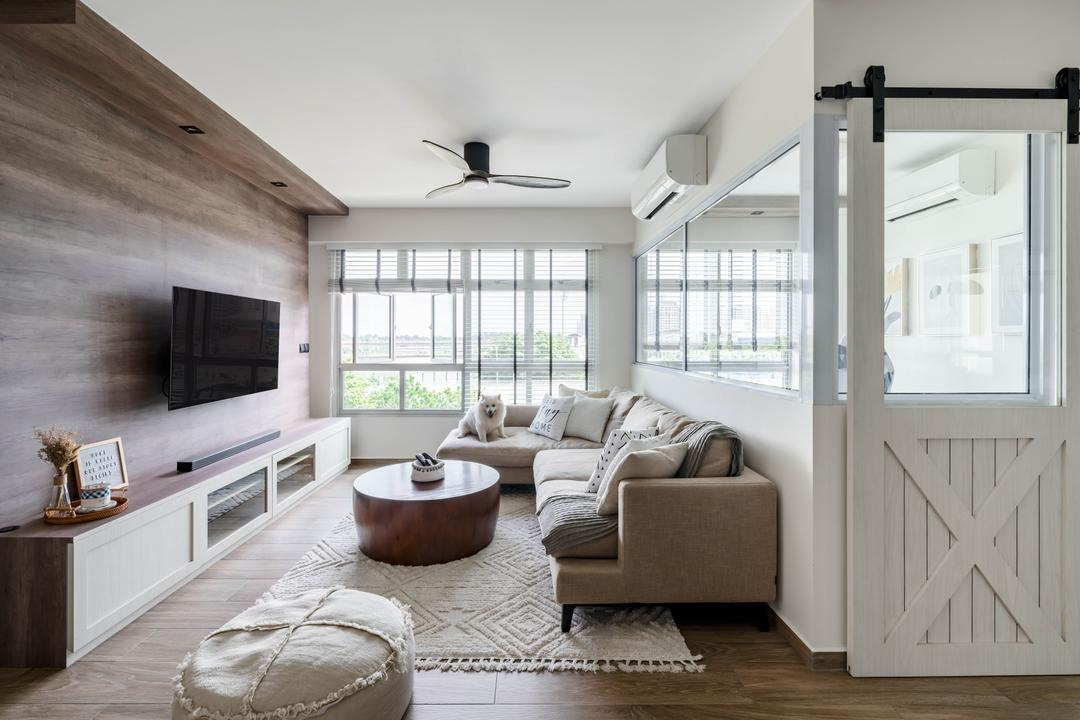 Anchorvale Lane, Ethereall, Traditional, Transitional, Living Room, HDB, Farmhouse