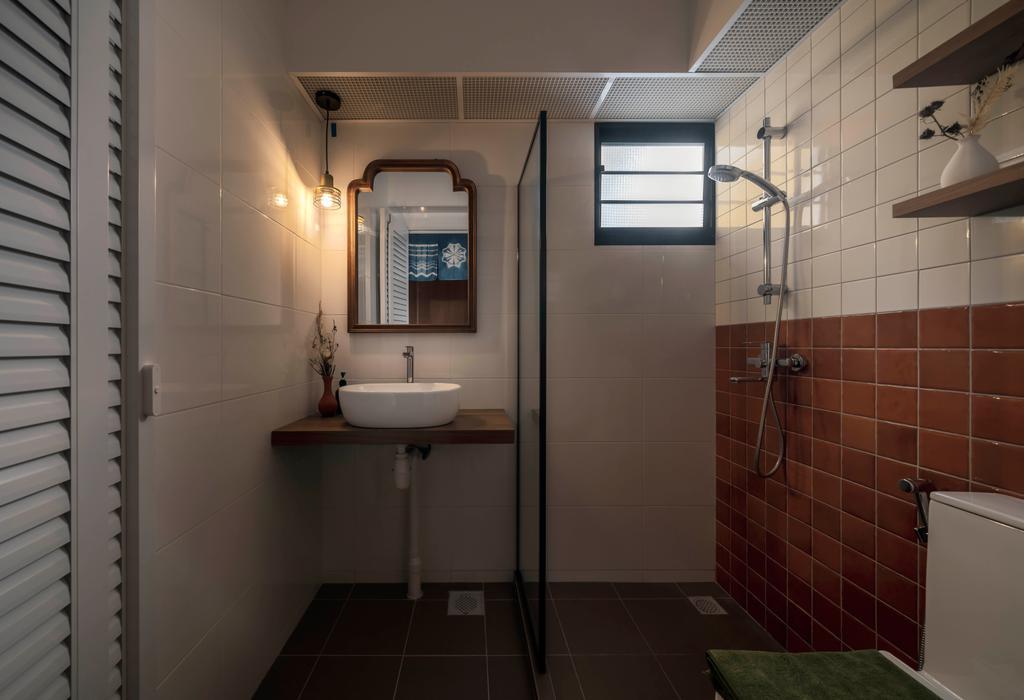 Retro, HDB, Bathroom, Tampines North Drive 1, Interior Designer, Ethereall