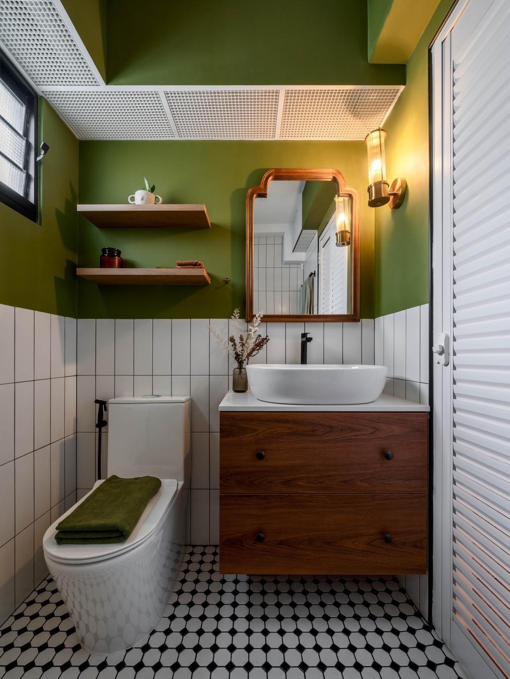 Retro, HDB, Bathroom, Tampines North Drive 1, Interior Designer, Ethereall, Green