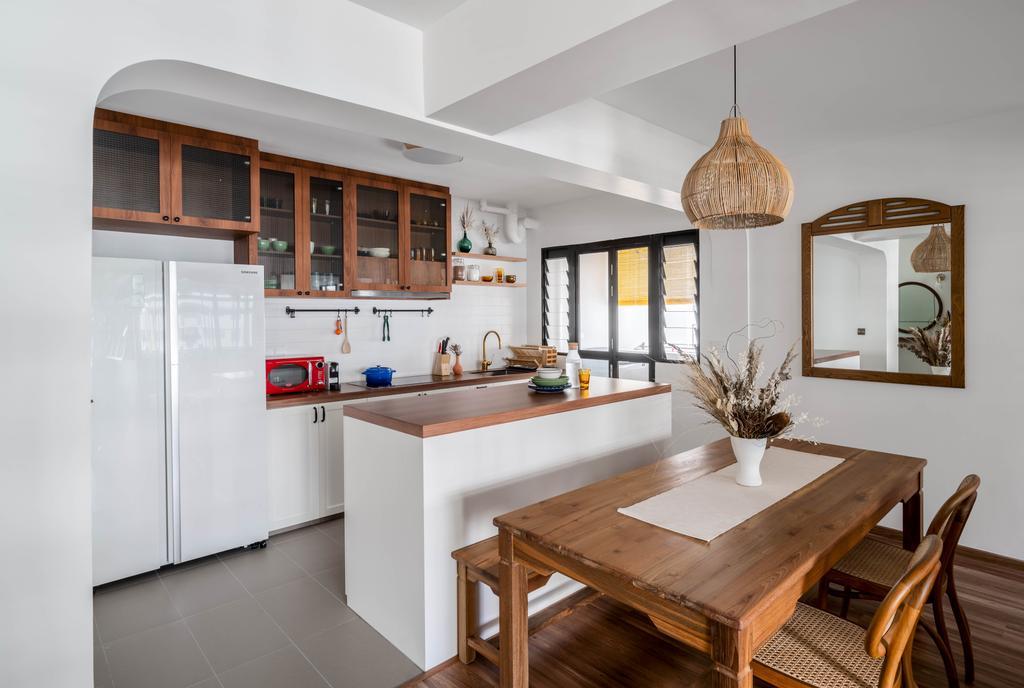 Retro, HDB, Kitchen, Tampines North Drive 1, Interior Designer, Ethereall, Kitchen Island, Open Kitchen