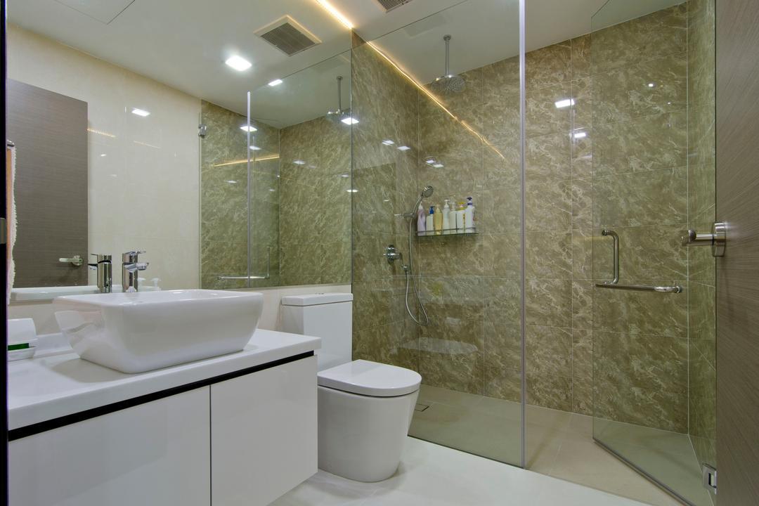 Jln Simpang Bedok, Ideal Design Interior, Modern, Bathroom, Landed, Mirror, Marble Wall, Glass Cubcicle, Rain Shower, Vessel Sink, Bathroom Counter, White, Beige, Neutral Tones