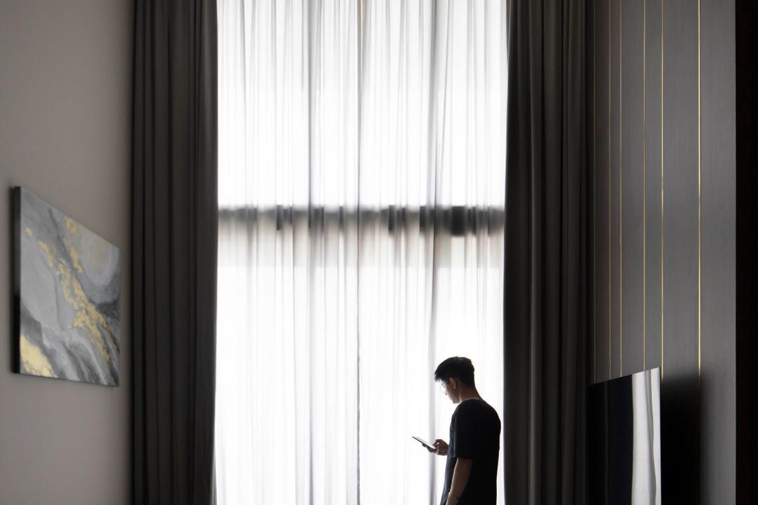 Le Quest, Fifth Avenue Interior, Contemporary, Living Room, Condo, Monochrome