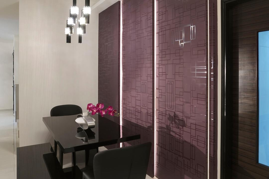 Parc Aston, Ideal Design Interior, Traditional, Dining Room, Condo, Feature Wall, Purple, Hanging Light, Pendant Light, Dining Table, Table, Bench, Chair, Marble Flooring, Indented Ceiling, Recessed Ceiling, Concealed Lighting
