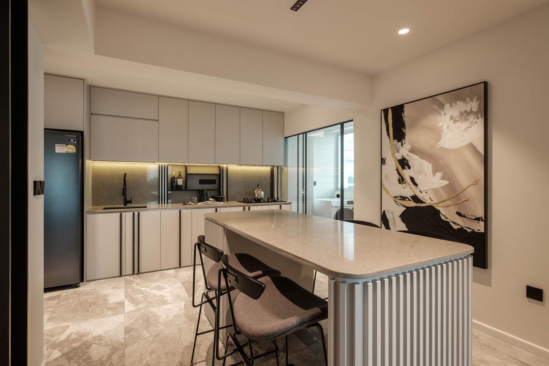 Sumang Lane, HOFT, Modern, Contemporary, Kitchen, HDB, Kitchen Island, Open Kitchen, Open Concept