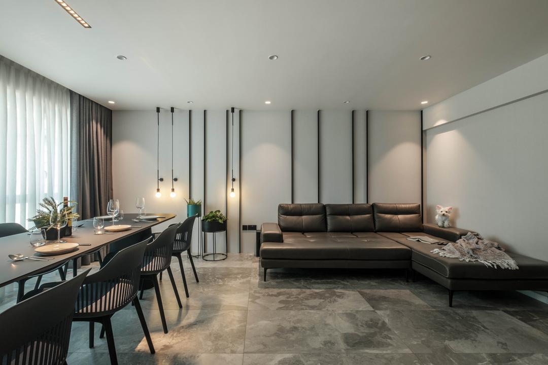 Sumang Lane, HOFT, Modern, Contemporary, Living Room, HDB, Feature Wall