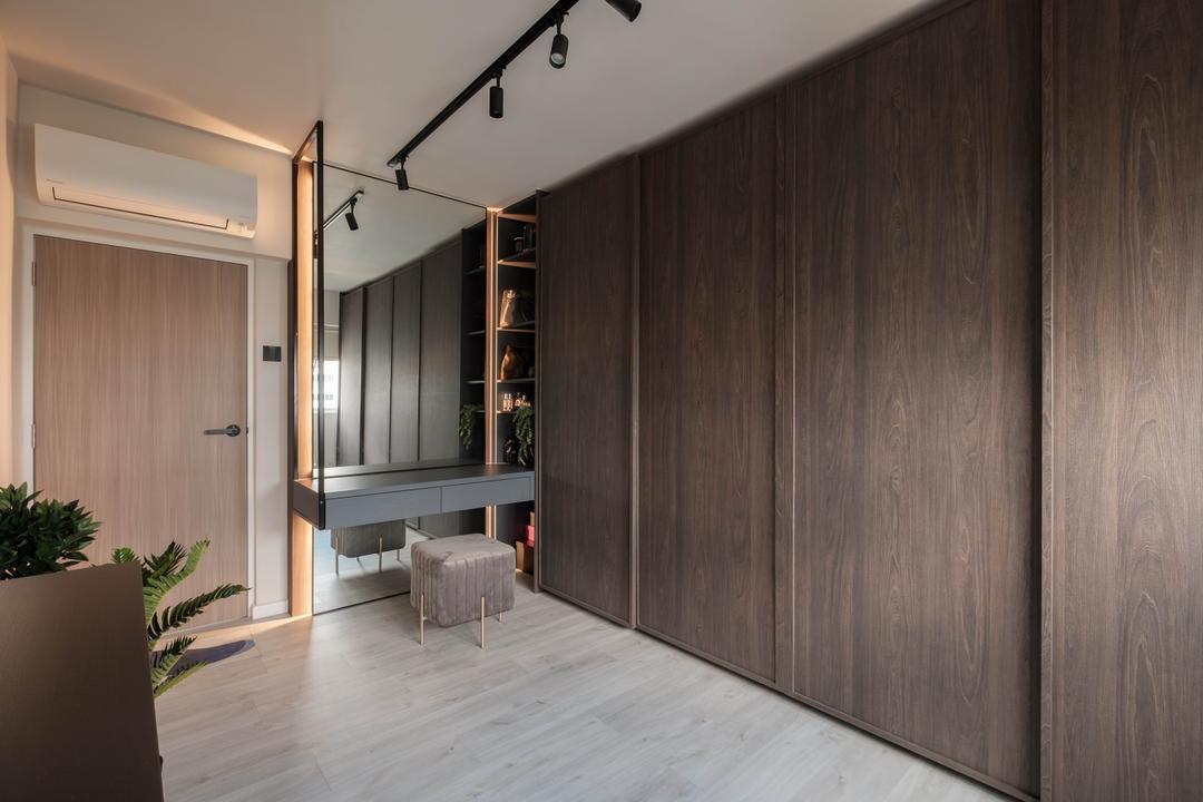 Ang Mo Kio Avenue 10, HOFT, Scandinavian, Bedroom, HDB, Vanity, Walk In Wardrobe, Wardrobe