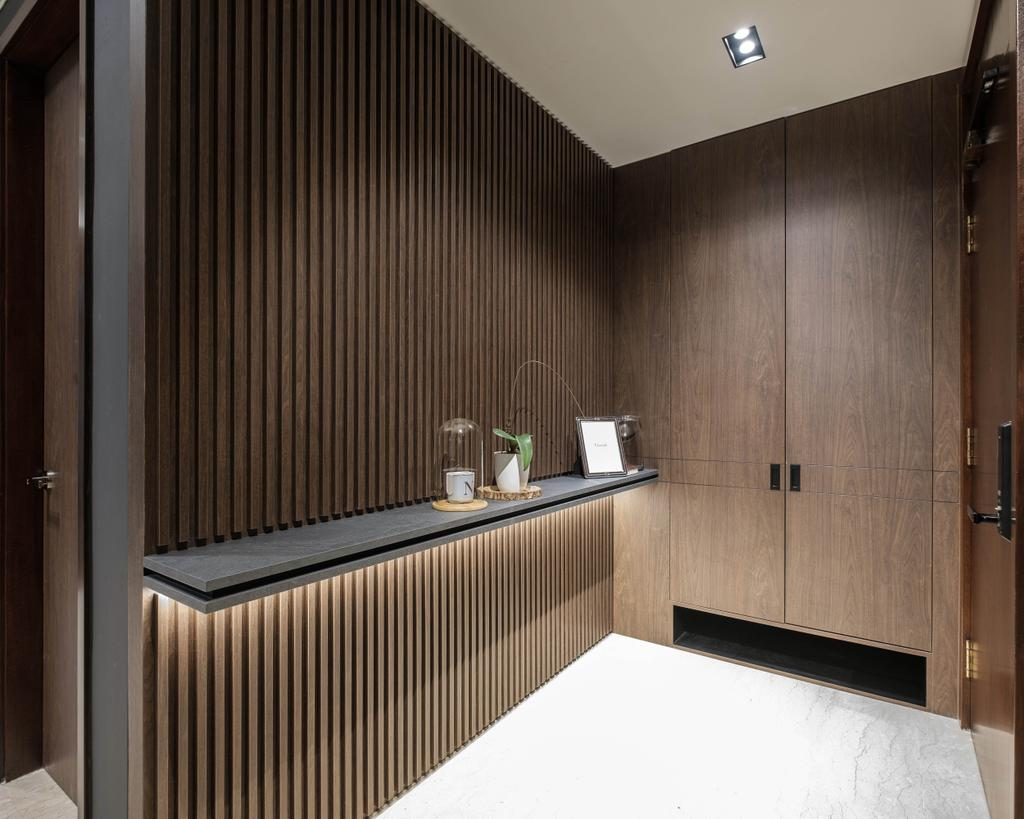 Contemporary, Condo, Living Room, Maplewoods, Interior Designer, HOFT, Shoe Cabinet, Entrance, Foyer, Wood Panelling, Pannelling