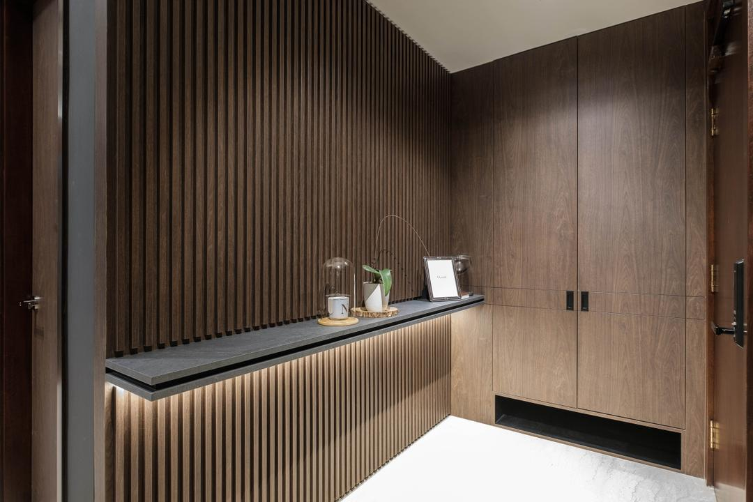 Maplewoods, HOFT, Contemporary, Living Room, Condo, Shoe Cabinet, Entrance, Foyer, Wood Panelling, Pannelling