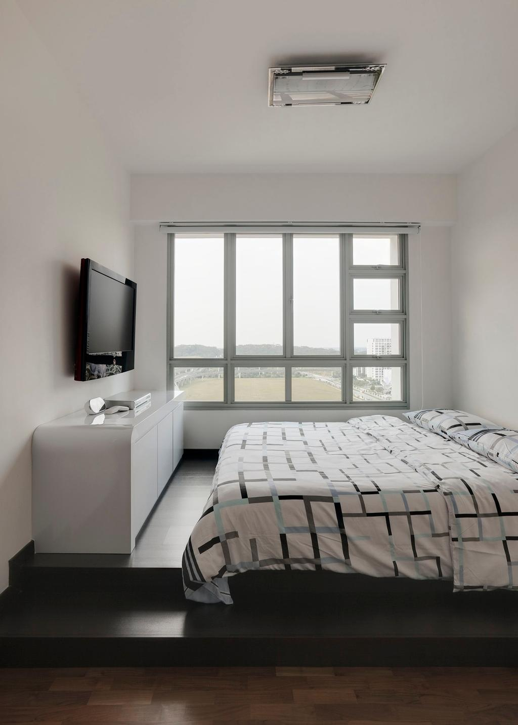Modern, HDB, Bedroom, Punggol Place, Interior Designer, Ideal Design Interior, Steps, Platform, Tv Console, Cabinet, Storage, White, Monochrome, Minimalistic