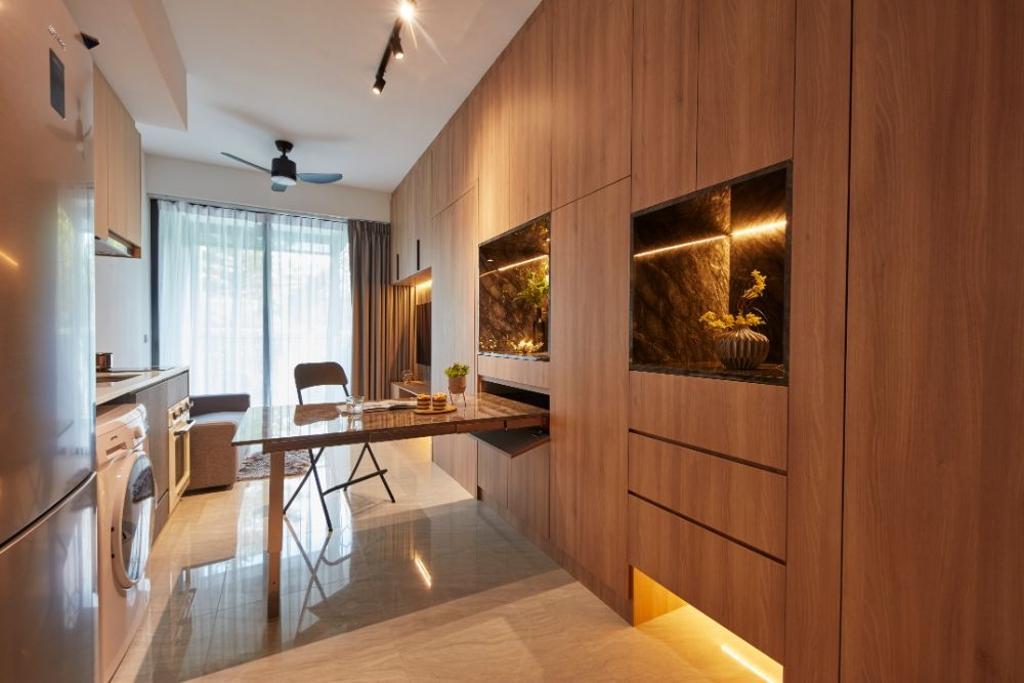 Contemporary, Condo, Living Room, Gem Residences, Interior Designer, Carpenters 匠, Concealed Storage, Hidden Storage, Extendable