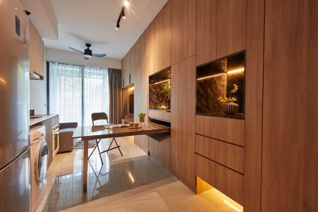 Gem Residences, Carpenters 匠, Contemporary, Living Room, Condo, Concealed Storage, Hidden Storage, Extendable