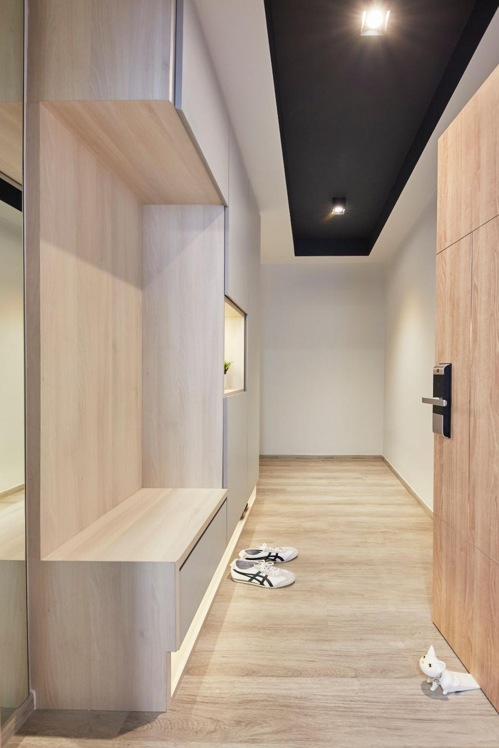 Modern, Condo, Living Room, Hundred Palms Residences, Interior Designer, Carpenters 匠, Scandinavian, Shoe Cabinet, Foyer, Entrance, Shoe Storage, Shoe Seat, Shoe Settee