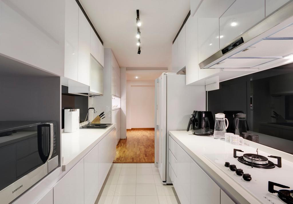 Modern, HDB, Kitchen, Punggol Place, Interior Designer, Ideal Design Interior, Glass Wall, Track Lighting, White, Black, Monochrome, Kitchen Counter, Cabinet, Linear, Laminate