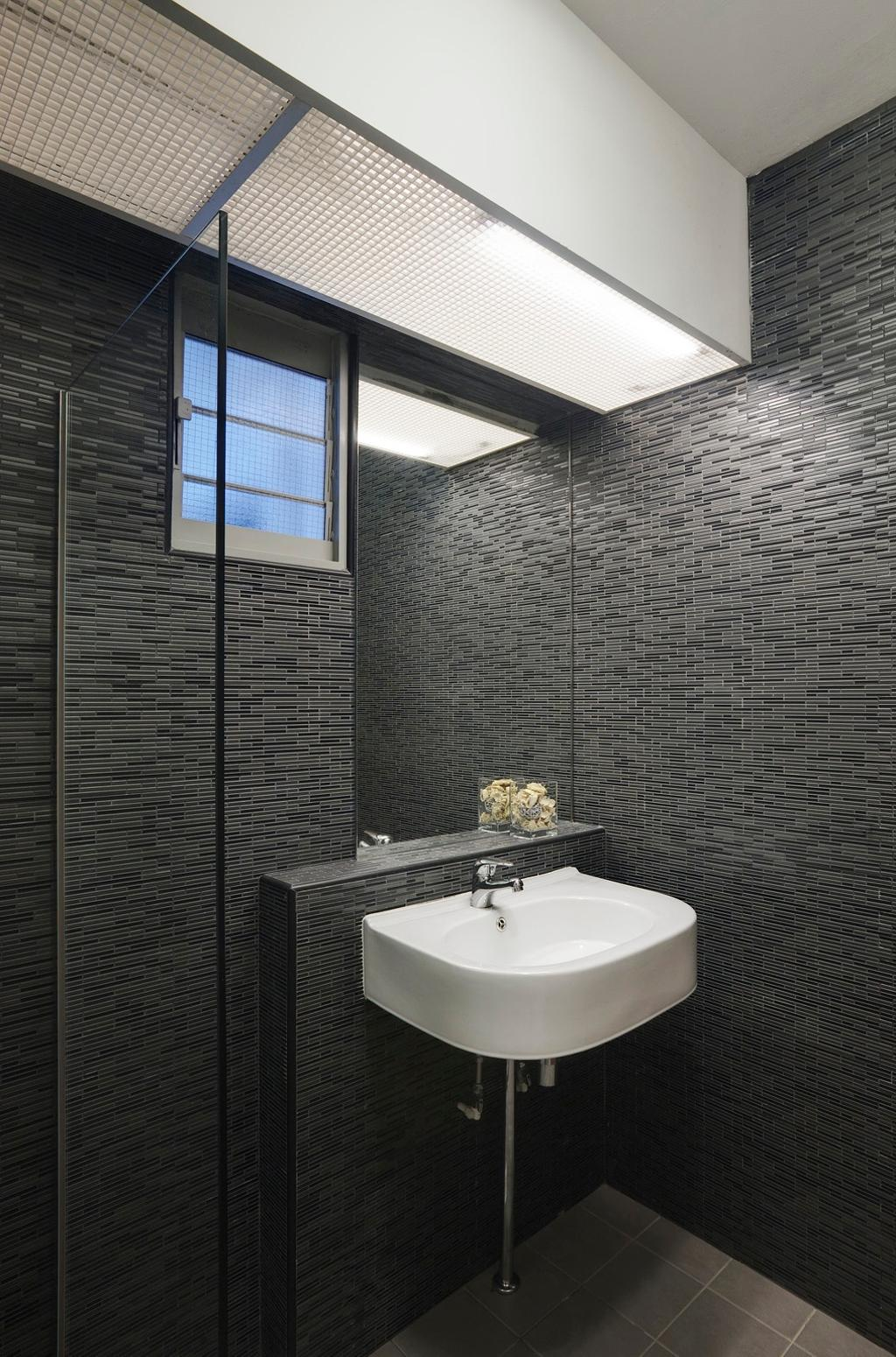Modern, HDB, Bathroom, Punggol Place, Interior Designer, Ideal Design Interior, Mirror, Black, Monochrome, Tile, Tiles, Glass Partition, Partition