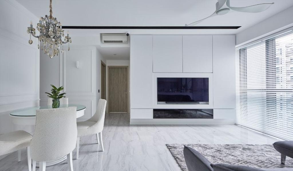 Modern, Condo, Living Room, The Alps Residences, Interior Designer, Carpenters 匠, All White, White