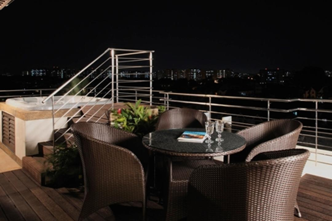 Rosyth, Ideal Design Interior, Traditional, Balcony, Condo, Veranda, Jacuzzi, Steps, Deck Flooring, Outdoors, Railing, Balustrade, Rattan, Chair, Wicker, Woven, Table, Glass Table, Awning