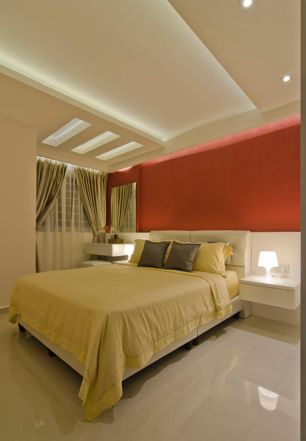 Modern, HDB, Bedroom, Tampines Street 23, Interior Designer, Ideal Design Interior, Red, Concealed Lighting, False Ceiling, Dressing Table, Mirror, Stools, Chair, Side Table, Night Stand, Lamp, Mounted Table, Marble Flooring