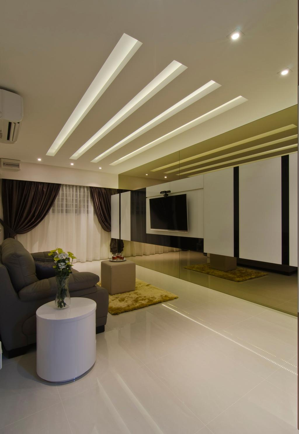 Modern, HDB, Living Room, Tampines Street 23, Interior Designer, Ideal Design Interior, Curtains, Feature Wall, Yellow, Black, White, Sofa, Coffee Table, Chair, Rug, Table, Side Table, Marble Flooring