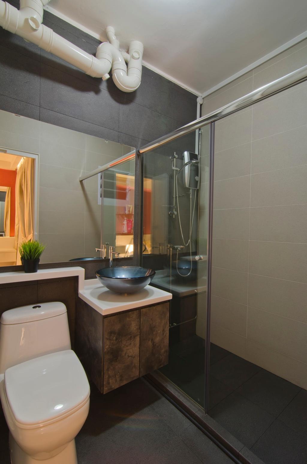 Modern, HDB, Bathroom, Tampines Street 23, Interior Designer, Ideal Design Interior, Mirror, Tile, Tiles, Vessel Sink, Bathroom Counter, Glass Cubicle