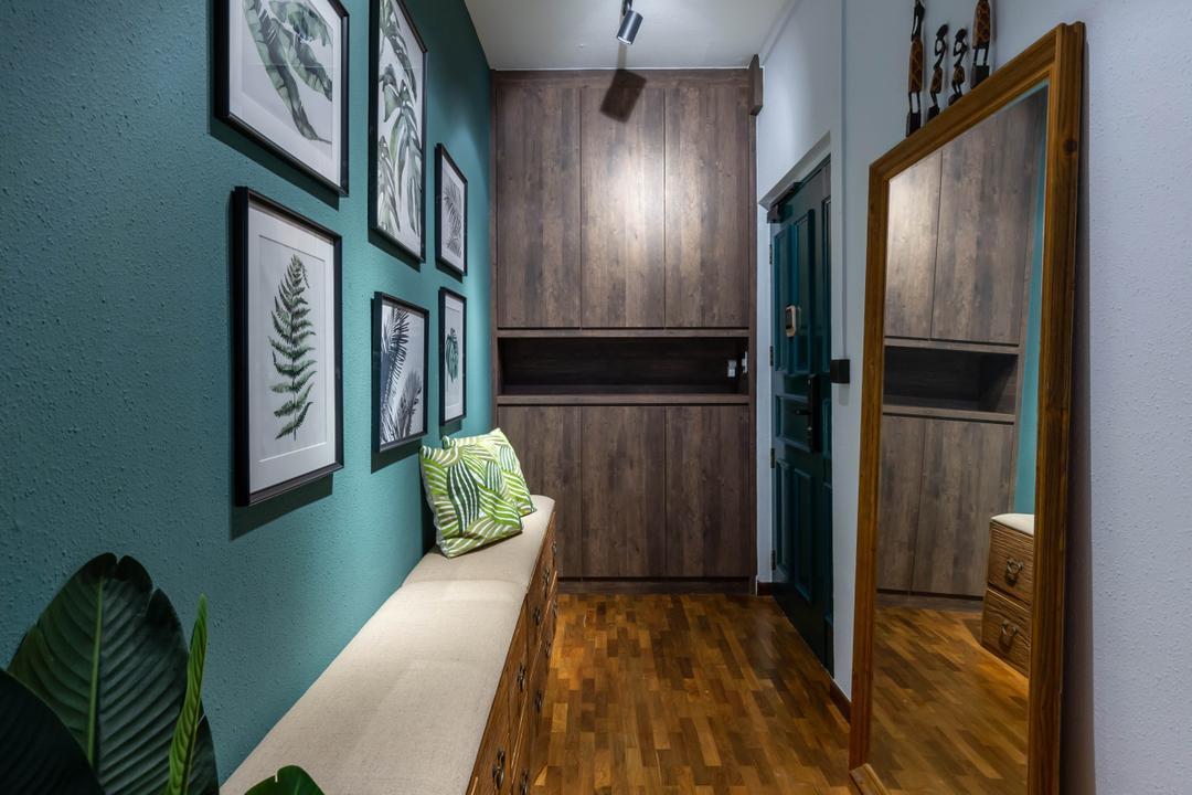 Whampoa Drive, Regiis Design, Eclectic, Living Room, HDB, Shoe Cabinet, Entrance, Shoe Seat, Shoe Bench