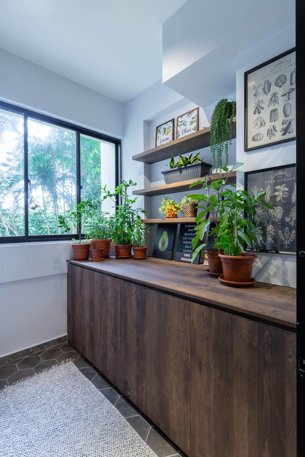 Eclectic, HDB, Kitchen, Whampoa Drive, Interior Designer, Regiis Design, Yard, Plants, Vertical Garden, Service Yard