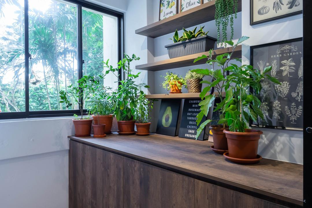 Whampoa Drive, Regiis Design, Eclectic, Kitchen, HDB, Yard, Plants, Vertical Garden, Service Yard