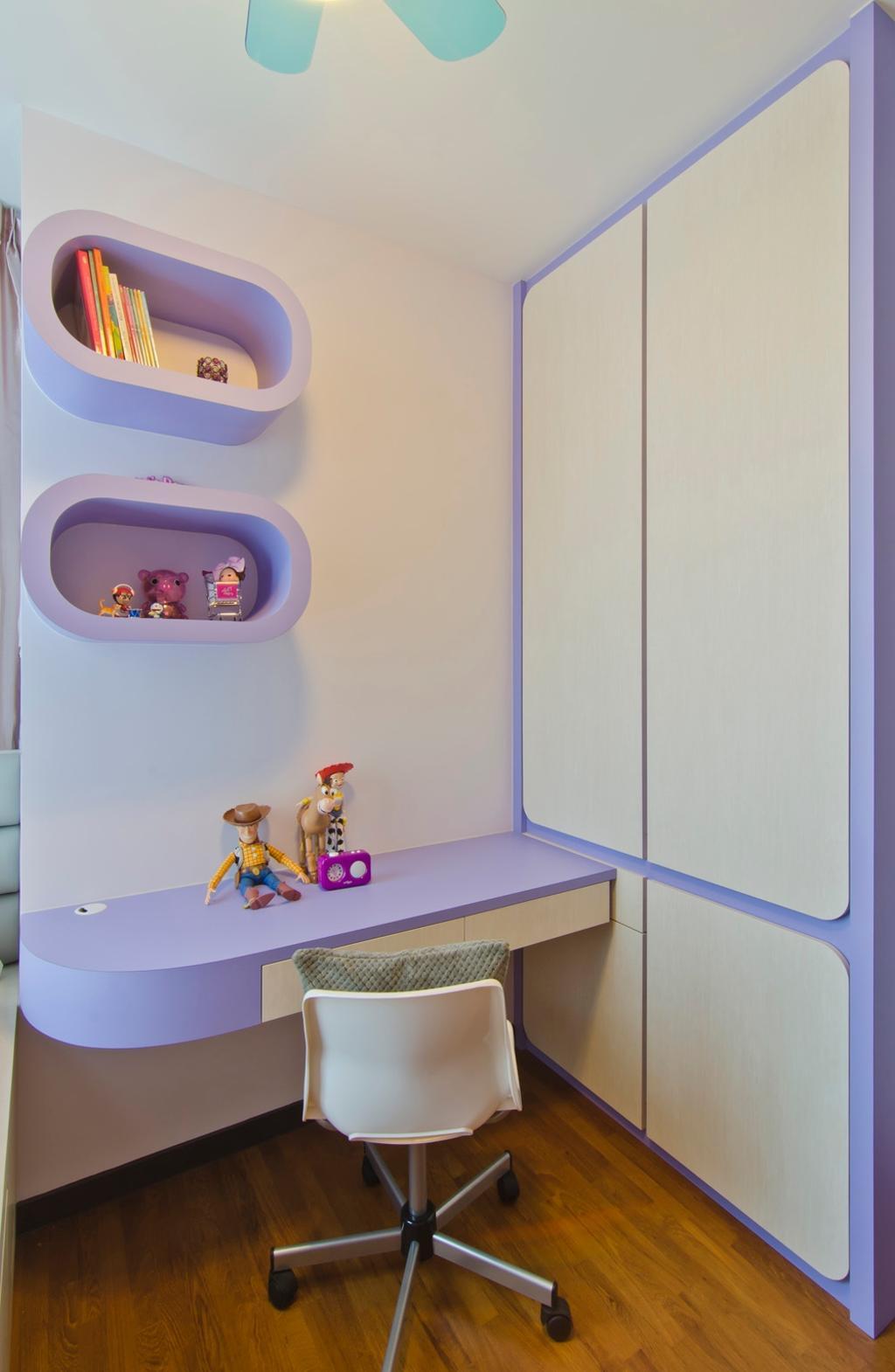 Modern, Condo, Study, Tanah Merah Kecil, Interior Designer, Ideal Design Interior, Shelf, Shelves, Closet, Wardrobe, Mounted Table, Study Table, Table, Chair, Purple, Pastel, Parquet, Kids, Kids Room