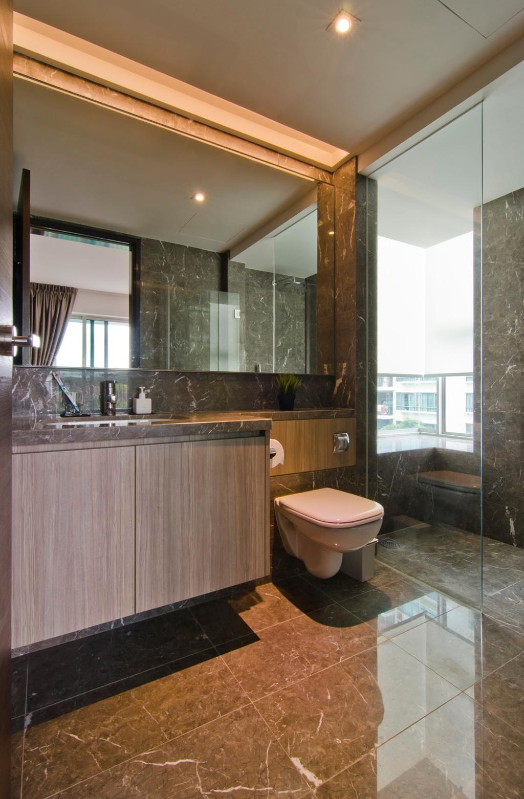 Modern, Condo, Bathroom, Tanah Merah Kecil, Interior Designer, Ideal Design Interior, Marble Flooring, Glass Cubicle, Wood Laminate, Wood, Laminate, Mirror, Concealed Lighting, Marble Wall, Muted Tones, Bathroom Counter, Tile, Tiles