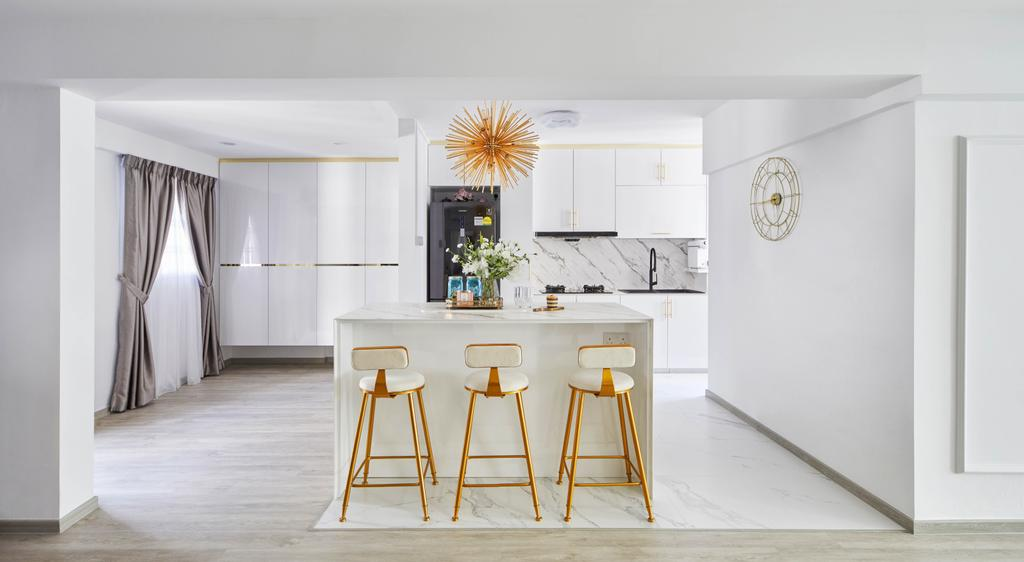 Contemporary, HDB, Kitchen, Yishun Street 61, Interior Designer, MET Interior, Kitchen Island, Open Concept, Open Kitchen, White
