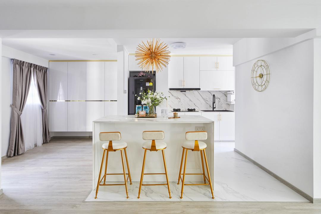 Yishun Street 61, MET Interior, Contemporary, Kitchen, HDB, Kitchen Island, Open Concept, Open Kitchen, White