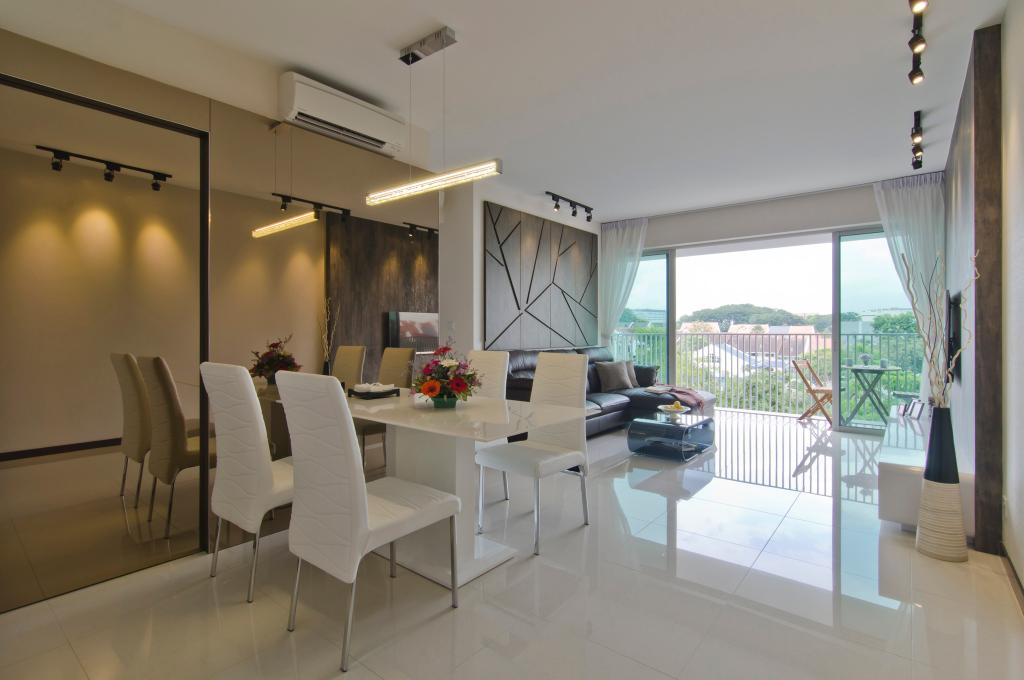 Modern, Condo, Dining Room, Tanah Merah Kecil, Interior Designer, Ideal Design Interior, Painting, Geometric, Mirror, Full Length Mirror, Table, Chair, Dining Table, Hanging Light, Track Lighting, Balcony, Railing, Balustrade, Sliding Doors, Glass Doors, Marble Flooring, White
