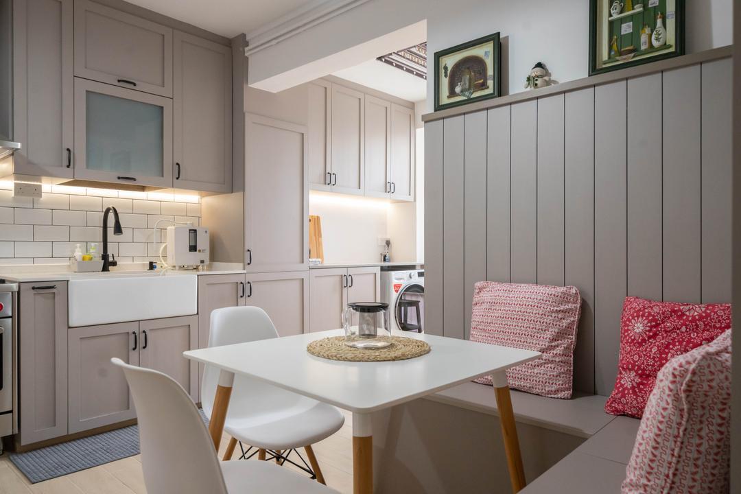 Jurong West Street 73, Design 4 Space, Modern, Contemporary, Kitchen, HDB, Settee, Nook