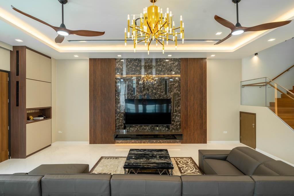 Modern, Landed, Living Room, Jalan Redop, Interior Designer, Design 4 Space