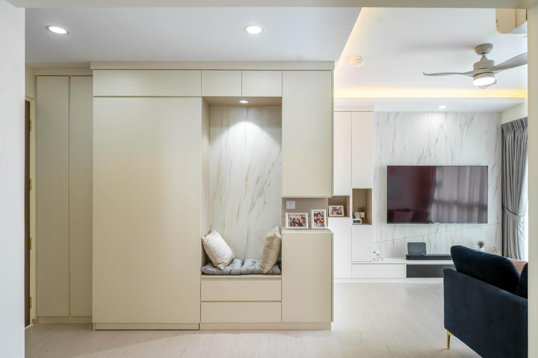 Alkaff Vista, Design 4 Space, Contemporary, Living Room, HDB, Shoe Cabinet, Shoe Seat, Entrance, Foyer
