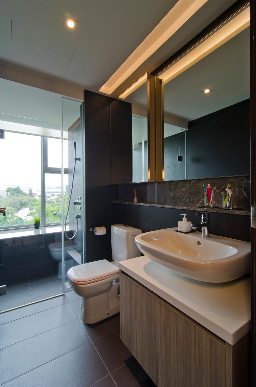 Modern, Condo, Bathroom, Tanah Merah Kecil, Interior Designer, Ideal Design Interior, Glass Cubicle, Window Seat, Mirror, Vessel Sink, Bathroom Counter, Wood Laminate, Wood, Laminate, Tile, Tiles, Shelf, Shelves, Concealed Lighting, Marble Wall