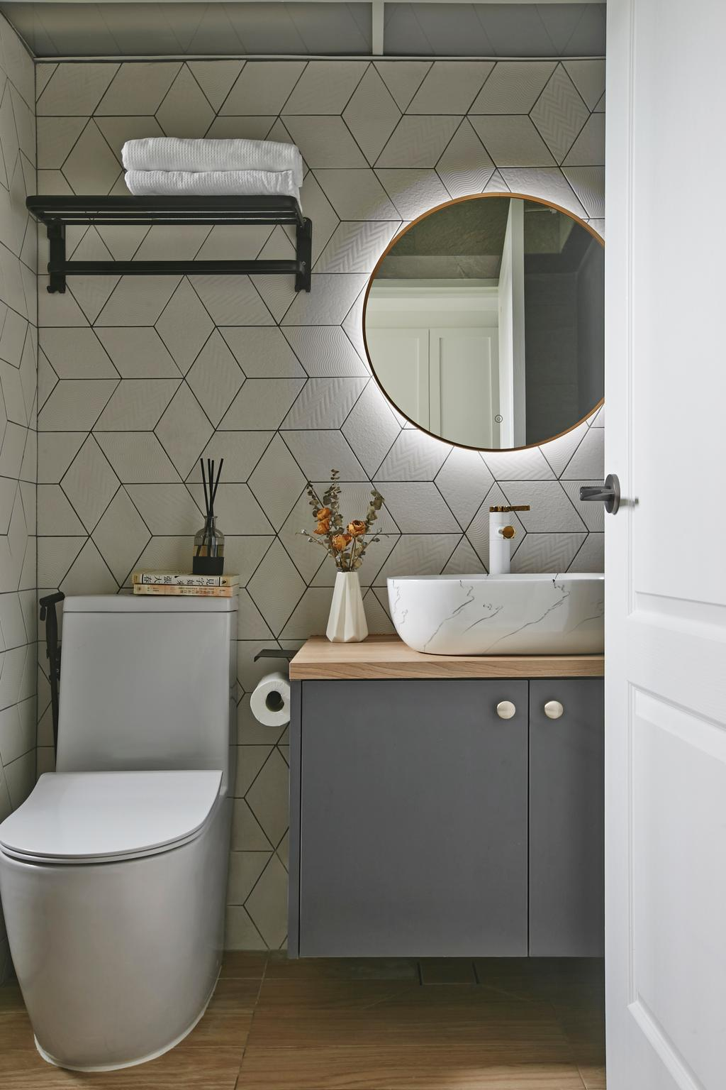 Contemporary, HDB, Bathroom, Wellington Circle, Interior Designer, Aart Boxx Interior