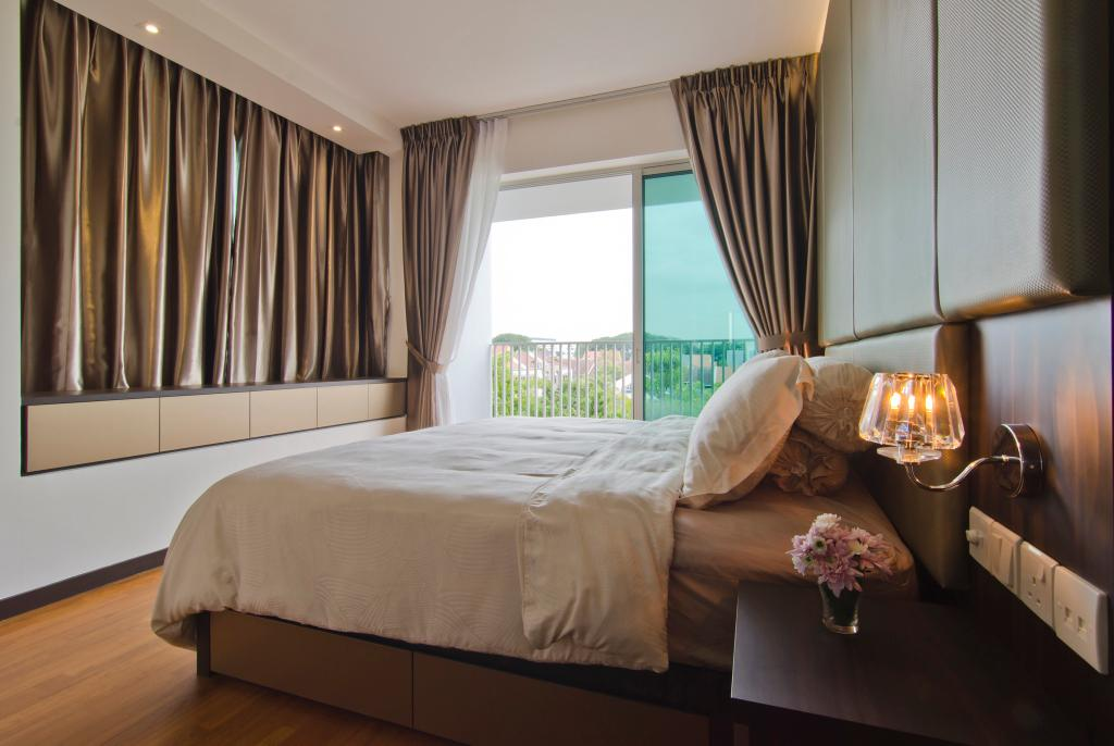 Modern, Condo, Bedroom, Tanah Merah Kecil, Interior Designer, Ideal Design Interior, Curtains, Parquet, Side Table, Table, Night Stand, Wall Lamp, Feature Wall, Balcony, Sliding Doors, Glass Sliding Doors, Window Seats, Storage