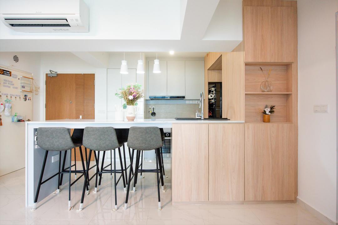 Bidadari Park Drive, Third Paragraph, Modern, Scandinavian, Dining Room, HDB, Kitchen Island, Open Kitchen, Open Concept