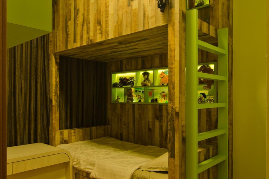 Vesta Condo, Ideal Design Interior, Traditional, Bedroom, Condo, Earthy Tones, Ladder, Parquet, Wood Laminate, Wood, Laminate, Cubbyholes, Display Unit, Green, Cut Out Wall, Table