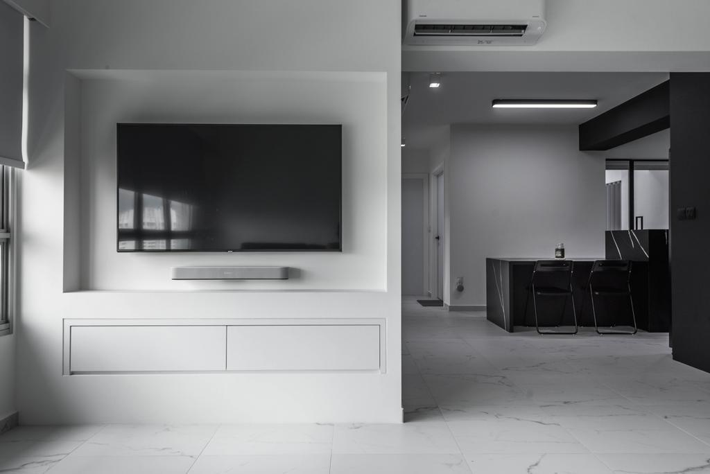 Minimalistic, HDB, Living Room, Canberra Street, Interior Designer, Third Paragraph, Monochrome, Black And White