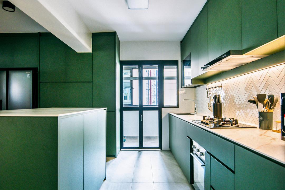 Bukit Batok West, Third Paragraph, Contemporary, Scandinavian, Kitchen, HDB, Green