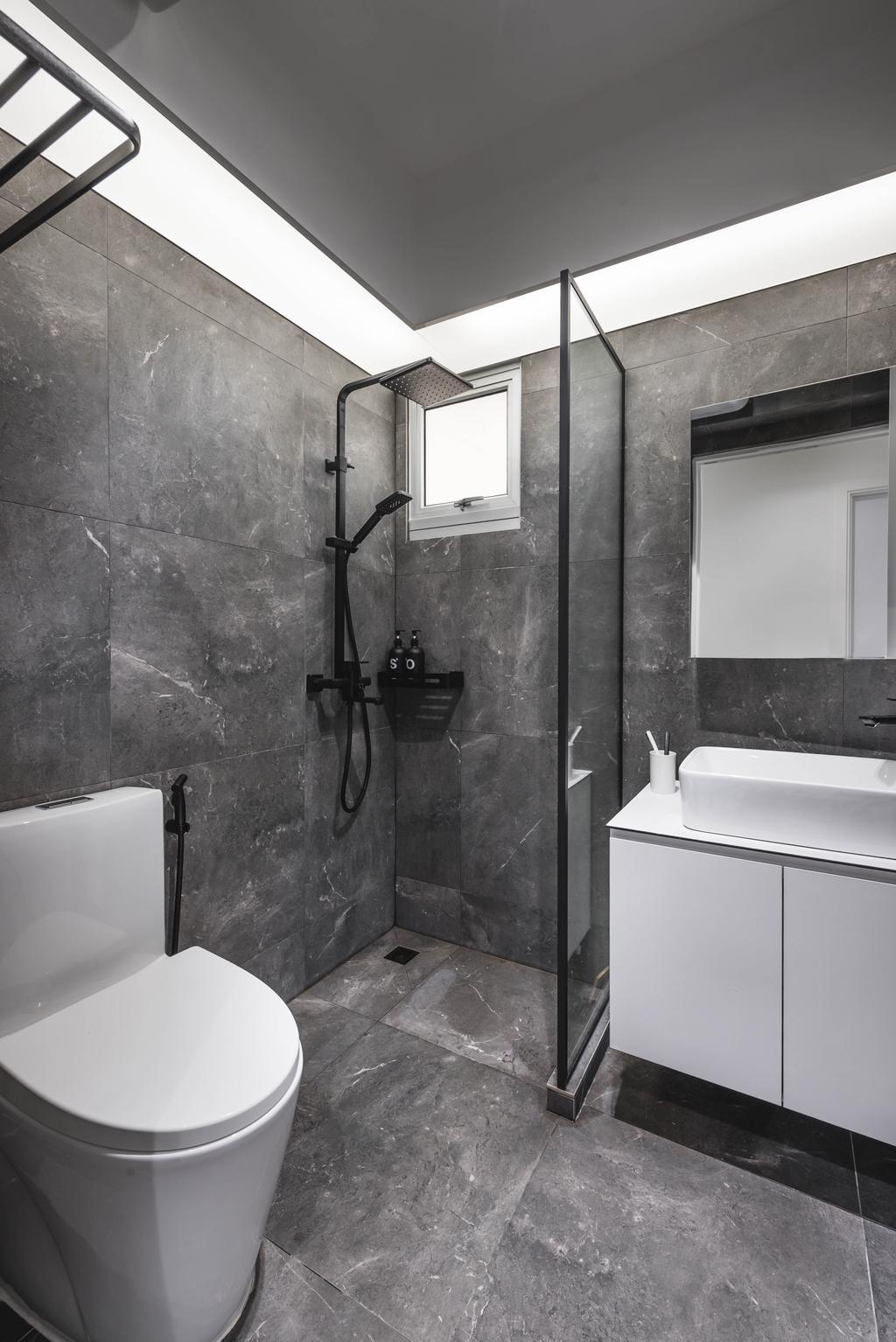 Minimalistic, HDB, Bathroom, Canberra Street, Interior Designer, Third Paragraph, Monochrome