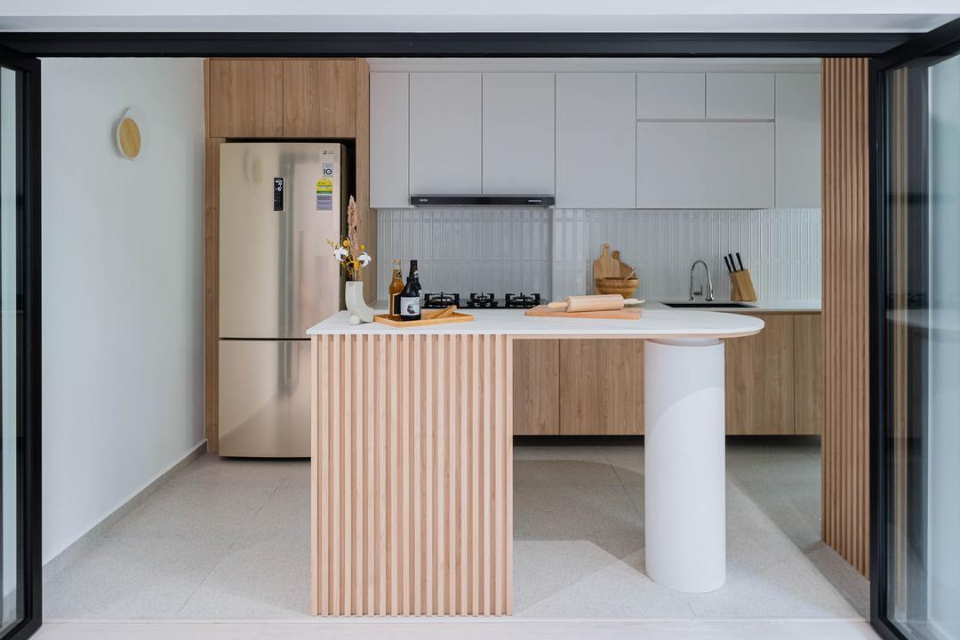 Ang Mo Kio Avenue 1, Insight.Out Studio, Scandinavian, Minimalistic, Kitchen, HDB, Kitchen Island, Open Kitchen