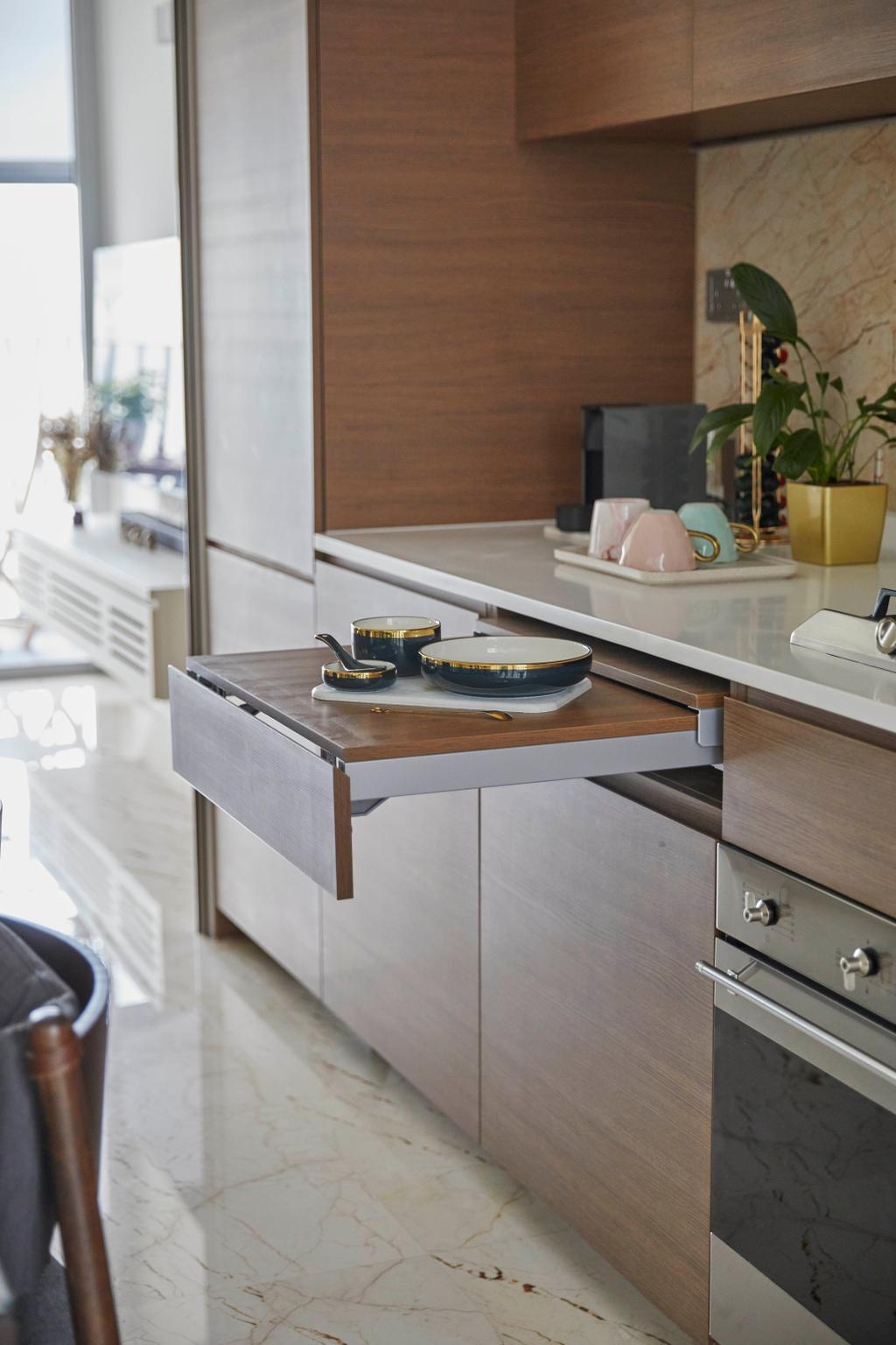 Modern, Condo, Kitchen, Queens Peak, Interior Designer, The Interior Lab, Contemporary, Extendable, Countertop