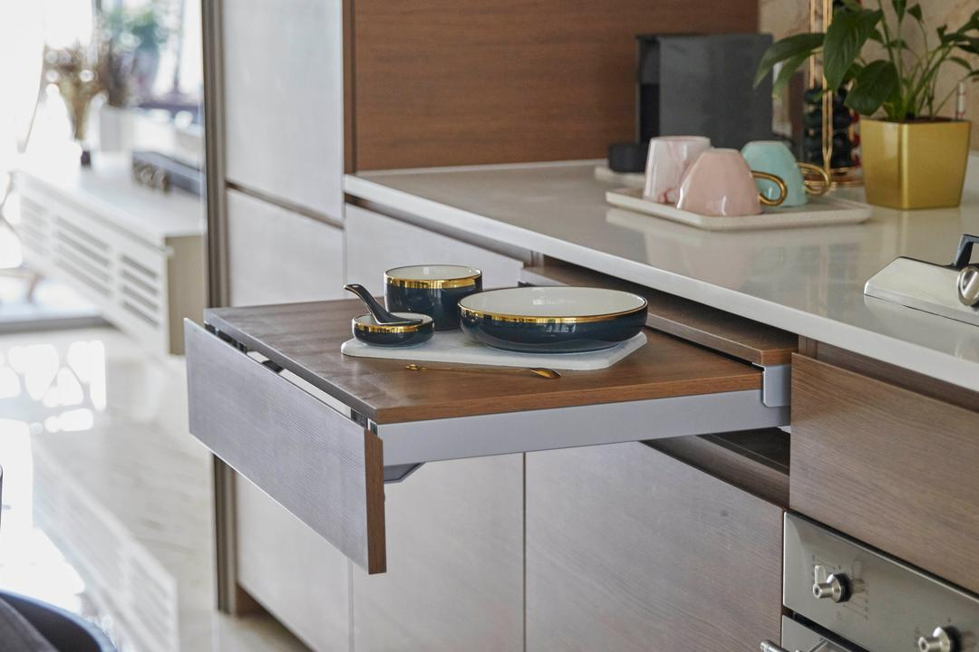Queens Peak, The Interior Lab, Modern, Contemporary, Kitchen, Condo, Extendable, Countertop